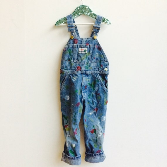 BOB 4-5 Years Vintage Kids Toddler Upcycled Osh Kosh Dungarees Pants Overalls Braces Unisex