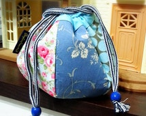 Hexagon Flowers Cotton Drawstring Bag gift
