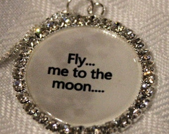 "Fly me to the Moon,necklace moon background,one of a kind,Rhinestone Pendant on an 18""  925 Genuine Sterling Silver box chain"
