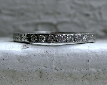 Stunning Vintage Etched Platinum Pave Diamond Wedding Band.