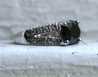 RESERVED - Beautiful Vintage 10K White Gold Black Diamond and Diamond Engagement Ring - 1.82ct.