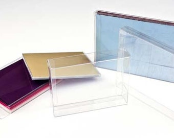 "5 Clear Greeting Card Boxes 4 7/8"" x 5/8"" x 6 5/8"", Holds A6 Cards, Gifts, Stationary"