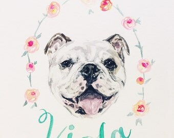 Custom Pet Portrait in Watercolor Personalized  with flowers and name- bulldog, Corgi, Boston Terrier, Shiba, Frenchie, Painting from photo