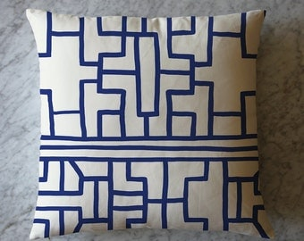 Pillow with Blue and White China Pattern. May 12, 2016