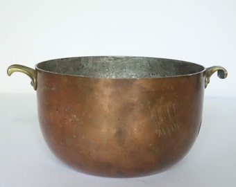 Vintage Heavy Copper Pot Brass Handles Tin Lined German Schwabenland 1.8 mm thick