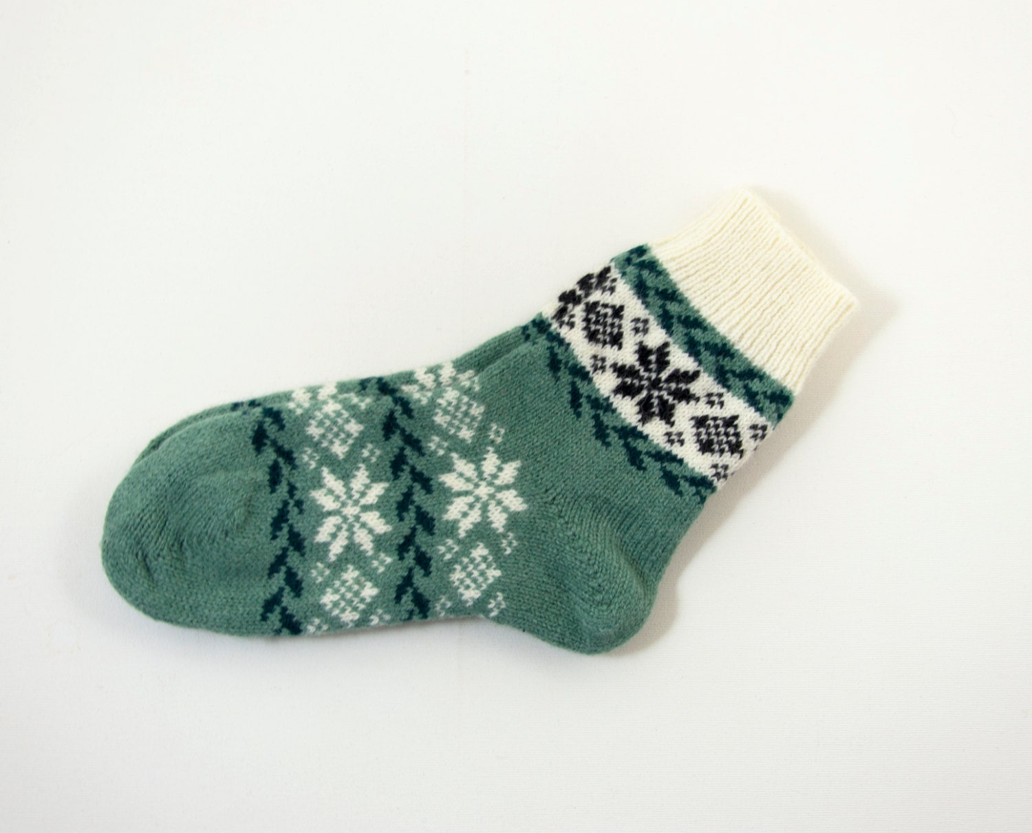 Knitting Pattern Wool Socks : Knitted Wool Socks Folk Pattern Socks Teal by UnlimitedCraftworks