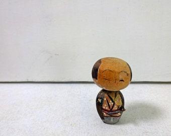 1.8in Vintage Japanese Miniature Wood KOKESHI Doll