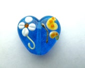 flower and butterfly heart focal lampwork bead