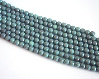 Turquoise Green Pearlized Czech Glass Beads - 6mm round - strand of 27 beads