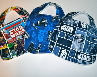 3 Star Wars Baby bibs,  Star Wars Bibs, Terry cloth backed baby bibs, set of 3 bibs in Star Wars prints, Millennium Falcon, R2-D2, C3Po