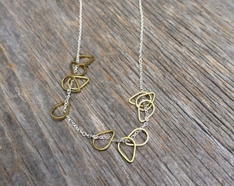 brass RAINDROP sterling silver necklace