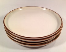 Denby Stoneware Plate White with Brown Edge - Dinner/Salad/Bread Sizes Available