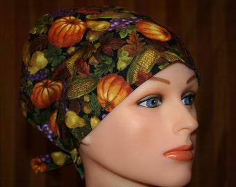 Scrub Hat, Tie Back Scrub Hat/Chemo Hat/Womens scrub hat/Surgical Scrub Hat, Scrub cap--Autumn Flair