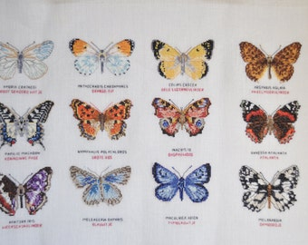 Finished / Completed Counted Cross Stitch Butterfly Sampler by Mies Bloch  crossstitch counted cross stitch