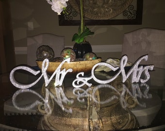 5 in Gorgeous Bling Mr & Mrs. Sign Wedding Reception Cake Table Crystal Rhinestone
