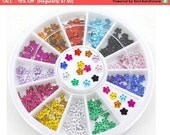 SALE DIY Nail Art Studs Colorful Crystal Glitter Flower Shaped  Rhinestones