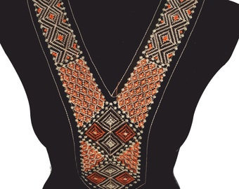 Folk Style Embroidered V Necklace Collar for Fashion Crafts