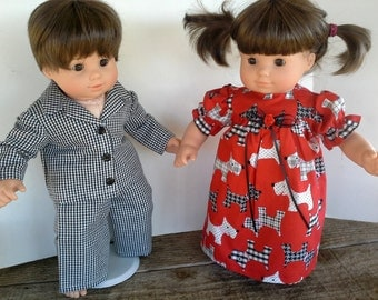 """American Girl 15"""" Doll Clothing - Bitty Twins Red Scotty Gown For Girl Black Gingham Pj's For Boy"""