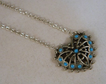 Vintage 1970s Sarah Coventry Faux Turquoise Heart Necklace / Silvertone Heart Necklace / New Old Stock Necklace / Valentine's Day Gift