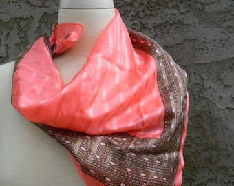 Pink and Grey Striped and Patterned Scarf / Vintage Scarf / Nylon Square Scarf