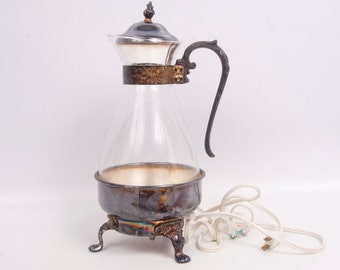 Vintage Silver Plated Coffee Carafe Coffee Warmer Sheridan Silver Co Teapot Pitcher Lidded Carafe