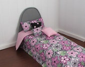 Doll Bed Mattress for 11 1/2 inch dolls Grey Floral Tufted Mattress  Pillows