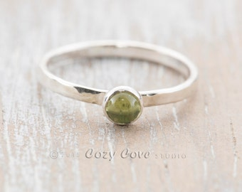 R318 Handmade  peridot ring in tarnish resistant Argentium ® sterling silver.