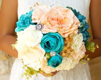 Fall Wedding Bouquet Peach Aqua Turquoise Teal Blue Ivory Brooch Large Alternative Keepsake