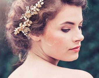 Custom Couture Romantic Decorative Wedding Hair vine, Wedding headpiece, Bridal headpiece, Elora Bridal Hair comb #GD1041