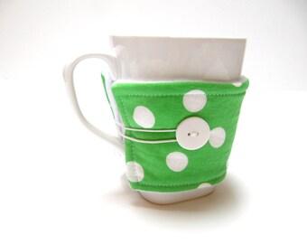 Reusable Coffee Cozy, Coffee Sleeve, Reusable Fabric Coffee Cozy, Green  Polka Dot Cozy, Eco-Friendly Teacher Co-Worker Gift , Gift Under 10