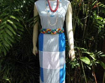 """HUGE 60% OFF Blue & White """"Kay Windsor"""" Patchwork Gingham Long Maxi  Dress by , sz S"""