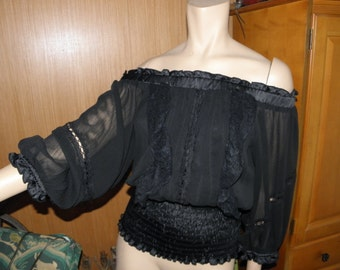 SHEER Black Silk Pirate Peasant Renaissance Pufy Sleeve Shirt by xoxo, Billowy Sleeves, sz small