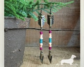 Boho Arrow. Dangle Earrings -- (Tribal, Long Earrings, Rustic Chic, Vintage Style, Colorful, Antiqued Brass, Pink, Valentine Gift Under 15)