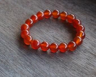 Carnelian 10 mm Round Stretchy String Bracelet B59