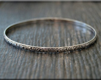 Sterling Silver Floral Pattern Bangle, Textured Solid Sterling Bangle Bracelet, Stacking Bangle Bracelet, Thick Sterling Silver Bangle