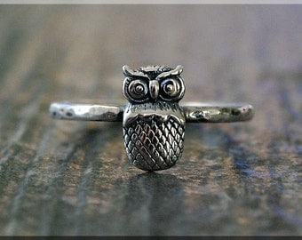READY to SHIP, Owl Stacking Ring, US Size 6.75, Sterling Silver Ring, Tiny Owl Jewelry, Silver Ring, Bird Stackable Ring, Cute Owl Ring