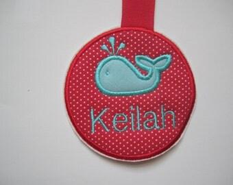 red and aqua whale name tag/ whale diaper bag tag/ whale luggage tag