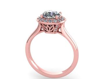 Rose Gold Moissanite Diamonds Engagement ring, style 90RGDM