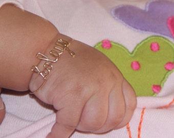 Baby Gold Bracelet -Baby Personalized Bracelet - Gold Baby Bracelet - Baby Jewelry - Name Bracelet - 14k solid Gold Baby Bracelet- Bracelet