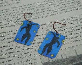 Art earrings Henri Matisse Icarus mixed media jewelry wearable art