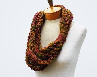Multi Color Crochet Infinity Scarf - Crochet Rope Scarf - Crochet Cowl Scarf - Chunky Scarf - Gift Idea