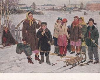 Socialist realism Russian vintage postcard (1955), P. Chernov Offended Her, Soviet art print, genre art children kids winter boy girl