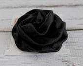 READY TO SHIP Black Satin Rolled Rosette Flower Bow, Clip, 3 Inch Fabric Flower, Girls Hair Clip, Baby Hair Clip, Baby Headband