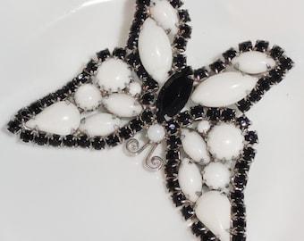 Beautiful JULIANA D&E DeLizza Elster Two Tone Black White Figural Rhinestone Butterfly Brooch