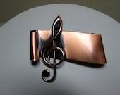 Vintage Mid Century Renoir Copper Treble Clef Brooch Signed Music Note