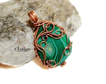 Green Copper Pendant Wire Wrapped Copper Pendant Copper Wire Jewelry Gemstone Copper Pendant Copper Jewelry Double Sided Copper Necklace
