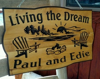 Sunset over the water   with    Adirondeck Chairs     Camp Cabin  Home Cedar Carved Wood Sign