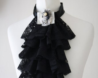 Black lace jabot FREE UK SHIPPING