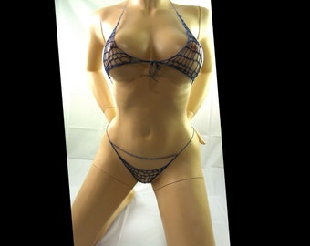 great anniversary gift for her, elastic rubber style crochet lingerie set, sexy erotic handmade bra and g strings. many colours, and sizes