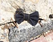 Embroidered denim bow/ tie